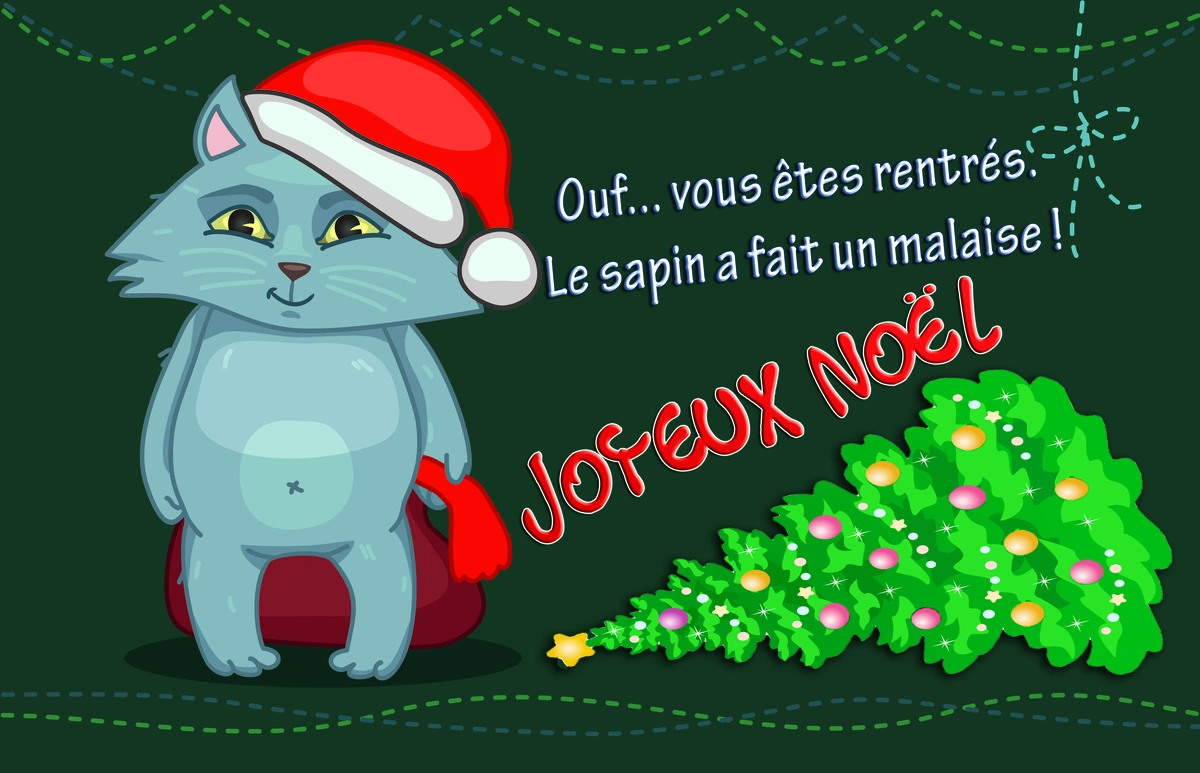 Cartes Virtuelles Chat Sapin Noel Joliecarte